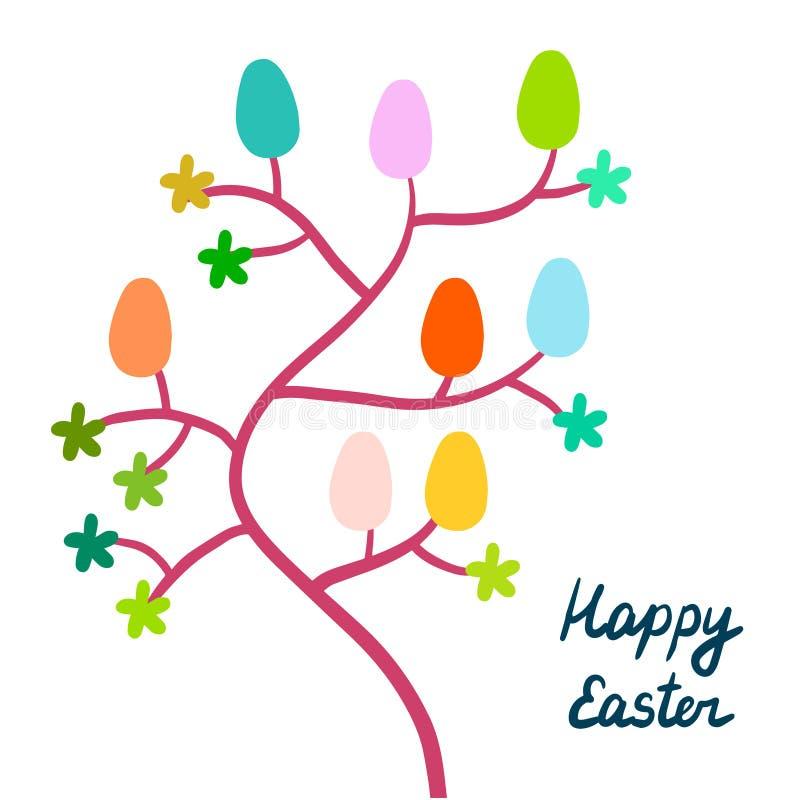 Glückliche Ostern-Handgezogener Illustrationsbaum mit bunter Beschriftung der Eiblumen lizenzfreie abbildung