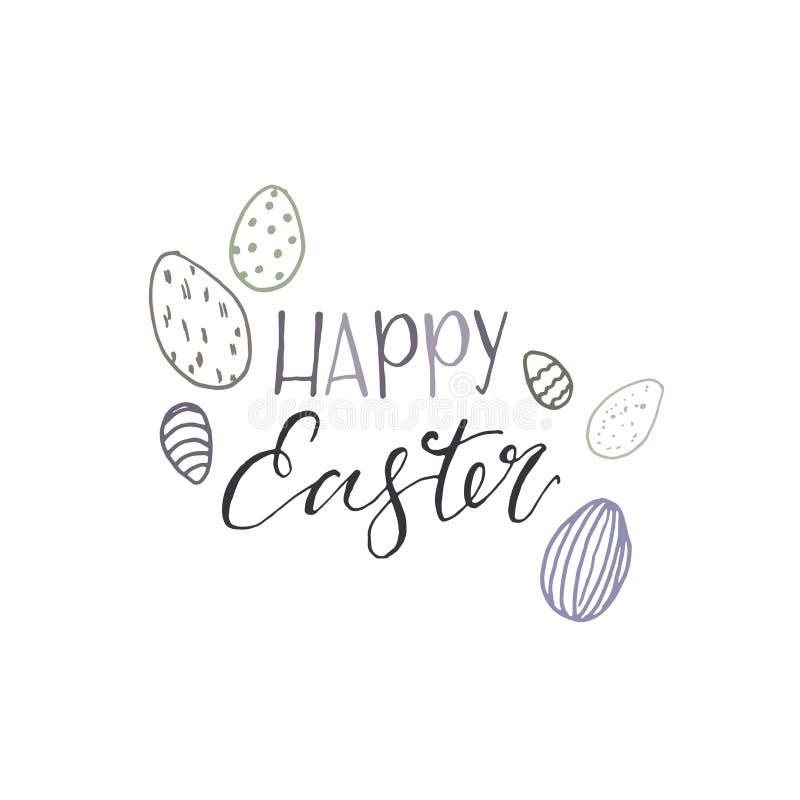 Glückliche Ostern-Karte des Vektors mit blauen Eiern Handgemalte Illustration lokalisiert auf weißem Hintergrund Abbildung für Au stock abbildung