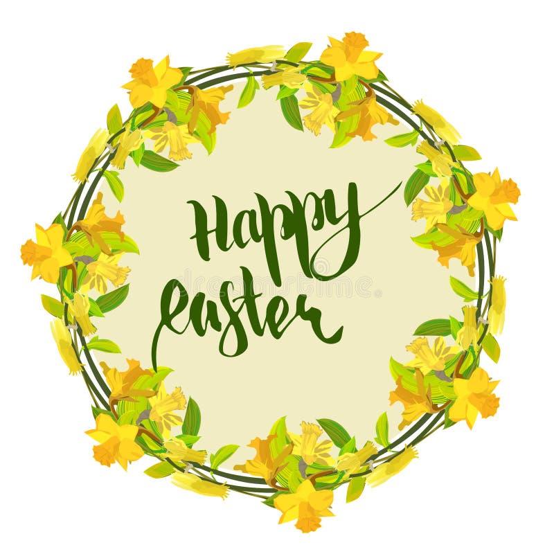 Glückliche Ostern-Karte mit gelber Narzisse stockfotografie