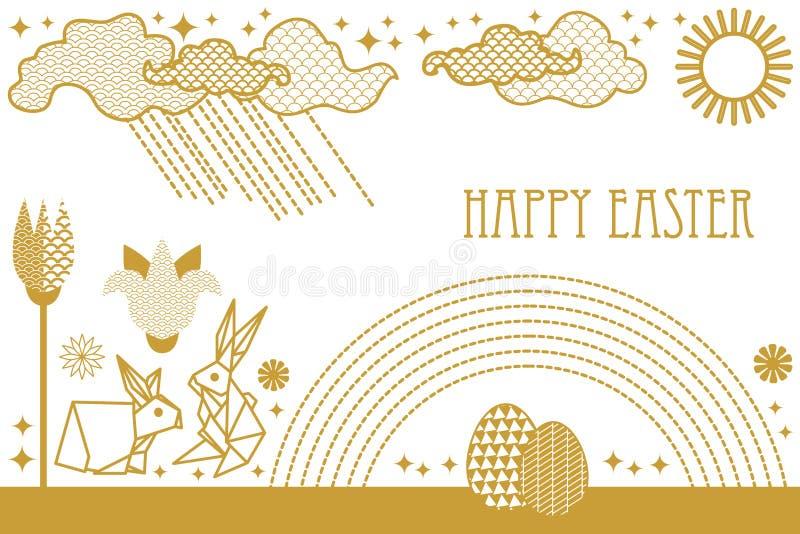 Glückliche Ostern-Karte mit Hasen, blühenden Frühlingsblumen, Regenbogen, Sonne, Wolken und aufwändigen Eiern vektor abbildung