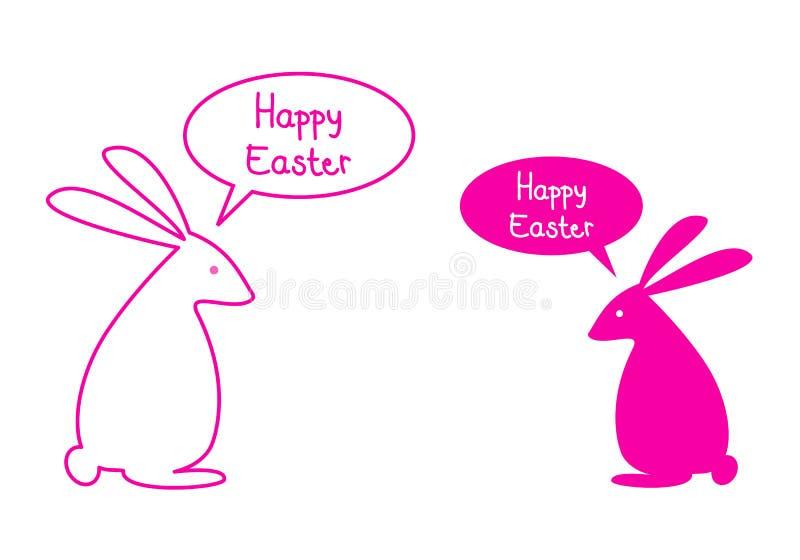Glückliche Ostern-Karte mit rosa Häschen, Vektor vektor abbildung