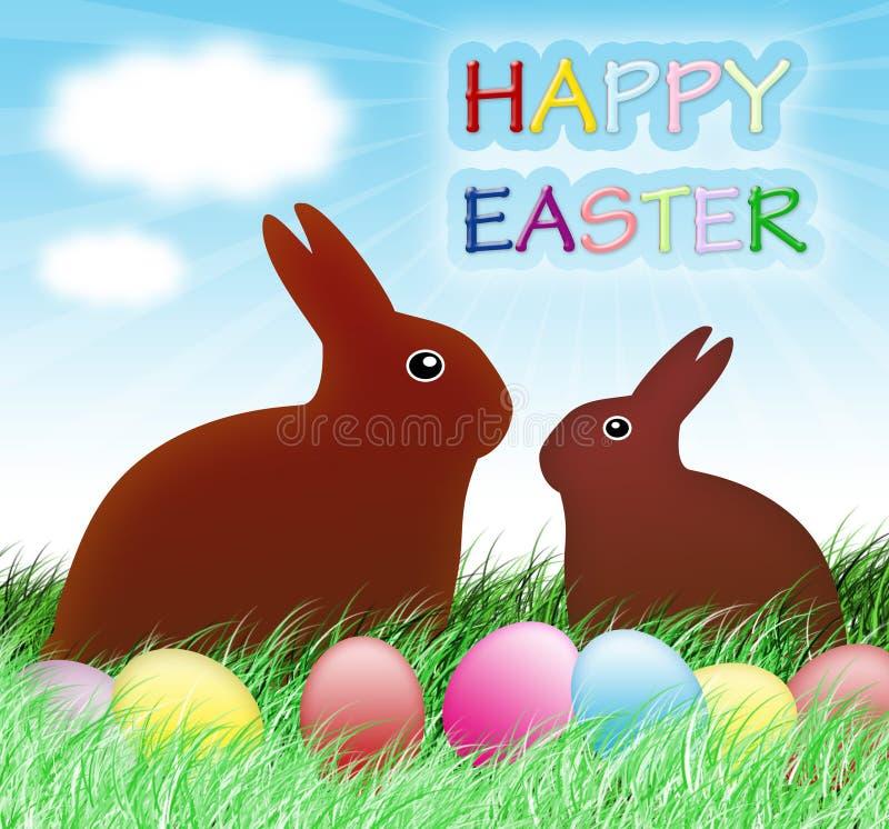 Glückliche Ostern-Kartenauslegung stock abbildung