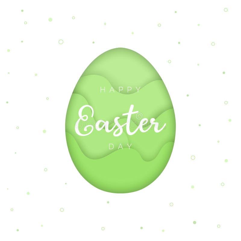 Glückliche Ostern-Kartenschablone, papercut Artei, grüner Hintergrund vektor abbildung