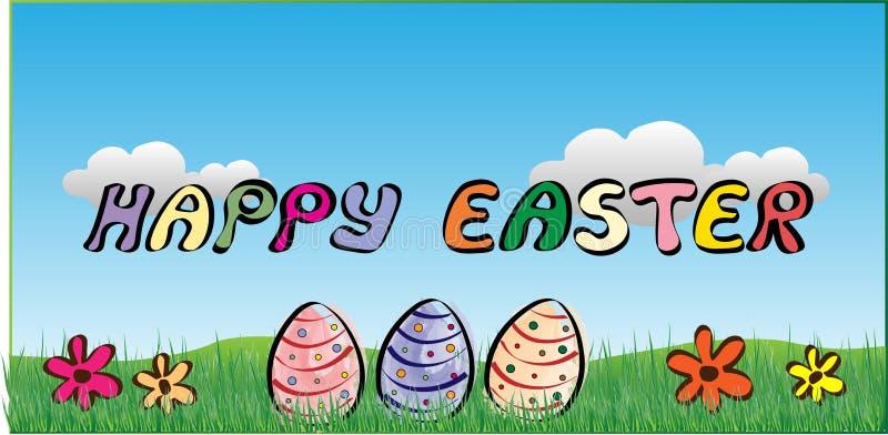 Glückliche Ostern-Plakat-Blumen und Eier lizenzfreie abbildung