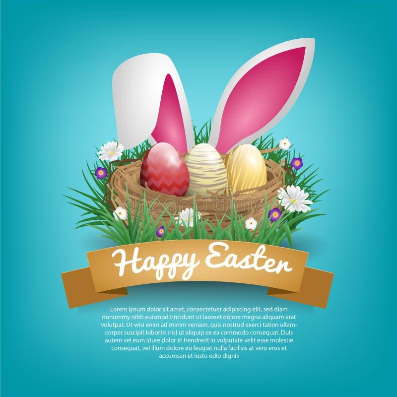 Glückliche Ostern-Tagesgrußkarten mit Vogelnest und -Hasenohr lizenzfreie abbildung