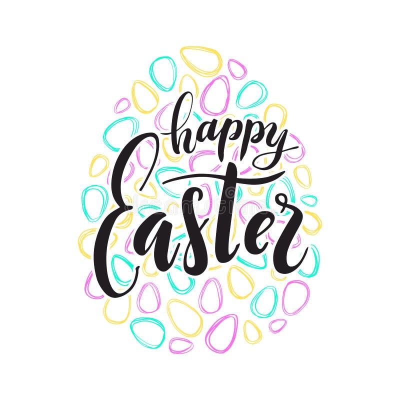 Glückliche Ostern-Textbeschriftung Farbige paschal Eier des Gekritzels lizenzfreie stockbilder