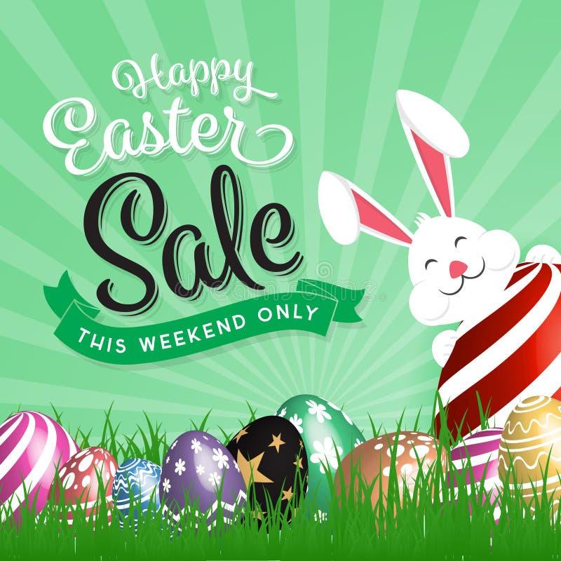 Glückliche Ostern-Verkaufsförderung lizenzfreie abbildung