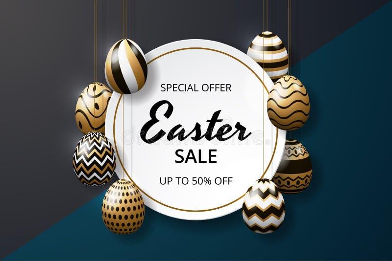 Glückliche Ostern-Verkaufshintergrundschablone mit realistischer goldener Glanz verzierten Eiern stock abbildung
