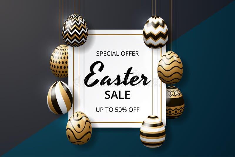 Glückliche Ostern-Verkaufshintergrundschablone mit realistischer goldener Glanz verzierten Eiern vektor abbildung
