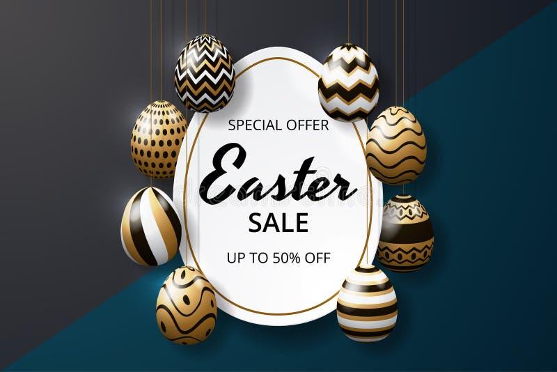 Glückliche Ostern-Verkaufshintergrundschablone mit realistischer goldener Glanz verzierten Eiern lizenzfreie abbildung