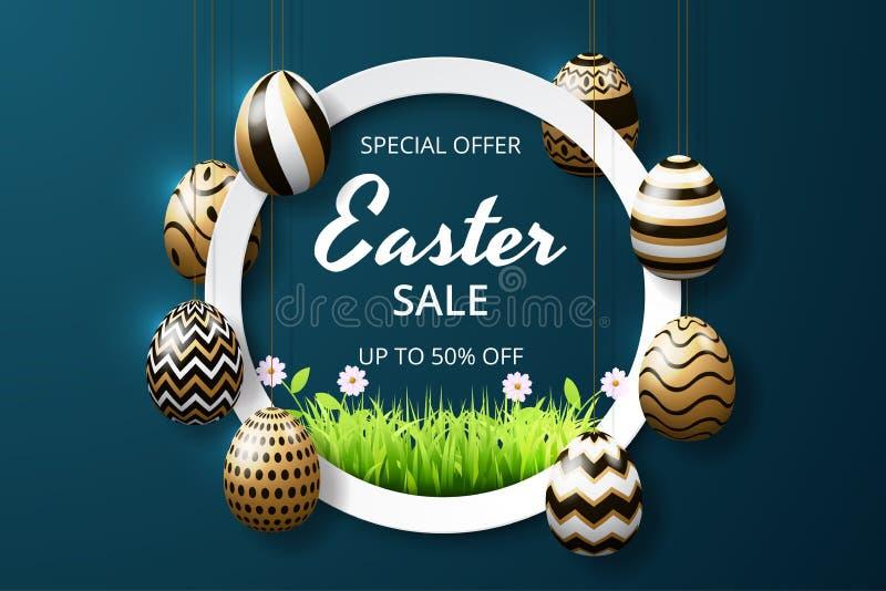 Glückliche Ostern-Verkaufshintergrundschablone mit realistischer goldener Glanz verzierten Eiern und Gras lizenzfreie abbildung