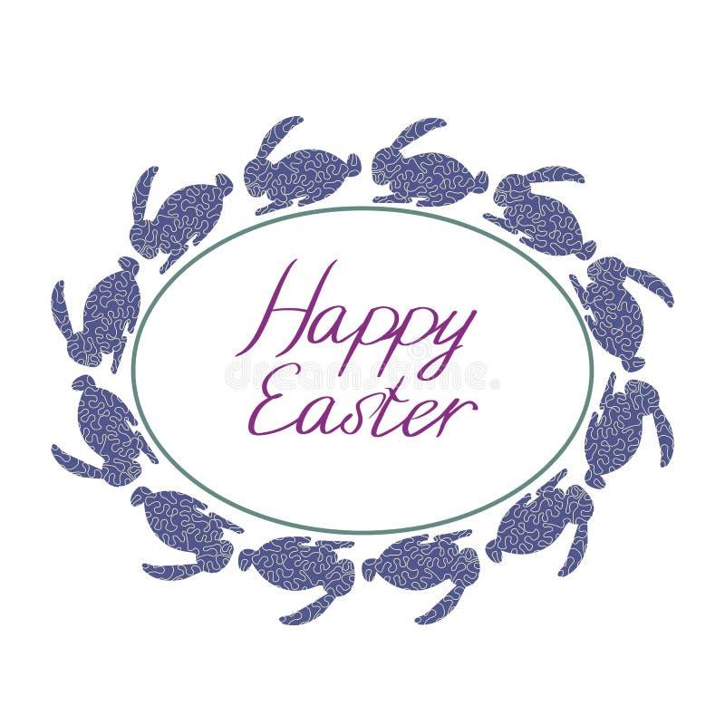 Gl?ckliche Ostern-Zusammensetzung mit blauen Kaninchen, ovalem Rahmen und Text mit wei?em Hintergrund stock abbildung