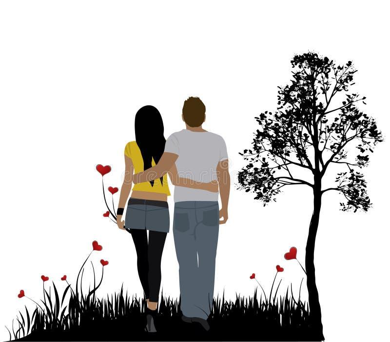 Glückliche Paare lizenzfreie abbildung