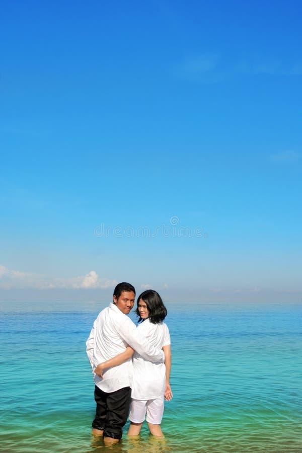 Download Glückliche Paare stockfoto. Bild von strand, umarmung - 9095980