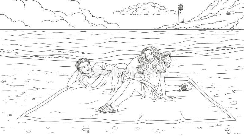 Glückliche Paare auf dem Strand vektor abbildung