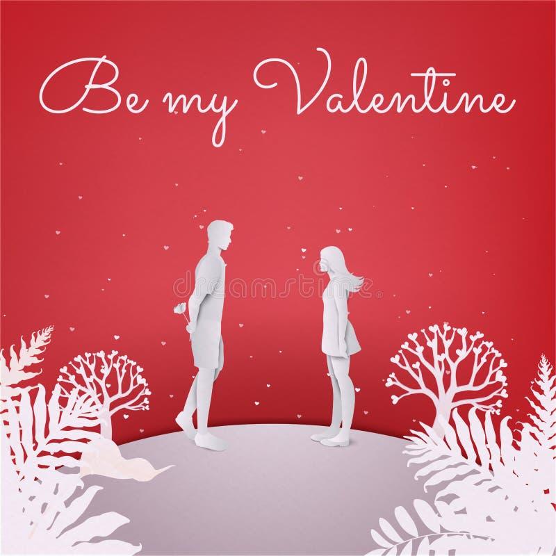Glückliche Paare in der Liebe Junger Mann, der zurück eine Blume mit Buchstaben versteckt lizenzfreie abbildung