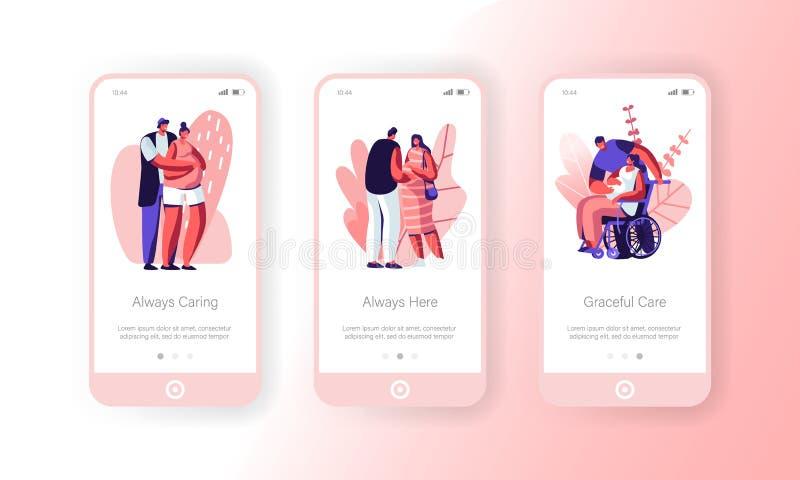 Glückliche Paare, die Baby bewegliche App-Seite an Bord des Schirm-Satzes warten Gesunde und behinderte schwangere Frauen mit Ehe vektor abbildung