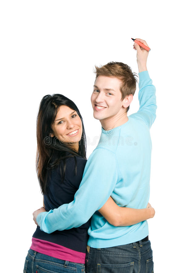 Glückliche Paare, die Ihren Text schreiben stockbild