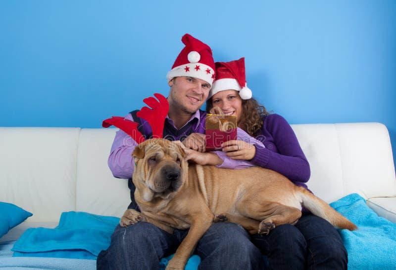 Glückliche Paare, die Weihnachten feiern stockbilder