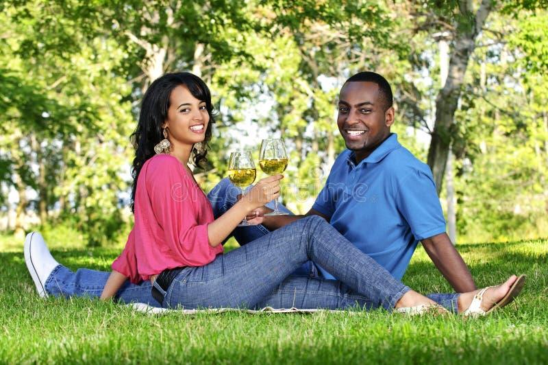 Glückliche Paare, die Wein im Park essen stockfotografie