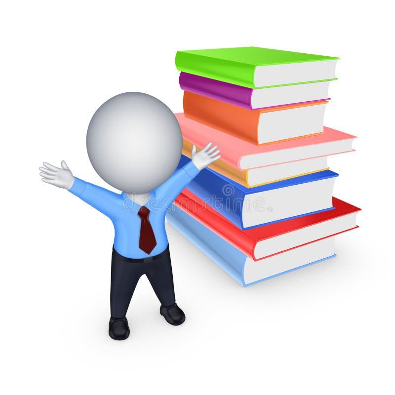 Glückliche Person 3d mit einem Stapel bunten Büchern. stock abbildung