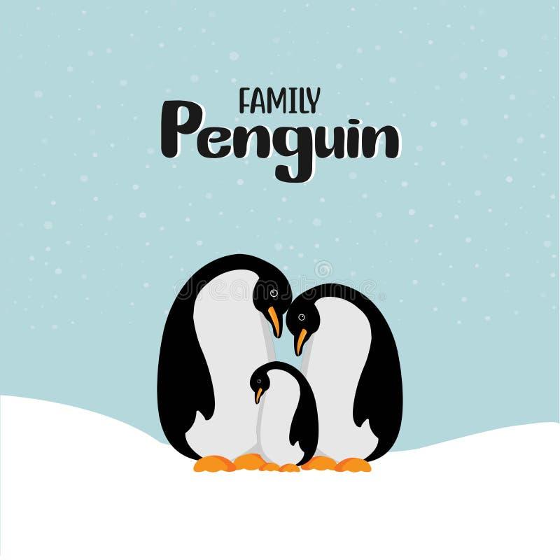 Glückliche Pinguinfamilie der Karikatur lizenzfreie abbildung