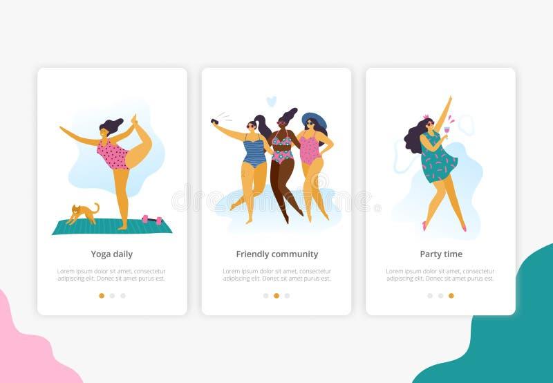 Glückliche Plusgrößenmädchen mit gesundem Lebensstil in der unterschiedlichen Haltung: Yoga, Spaß und Partei lizenzfreie abbildung