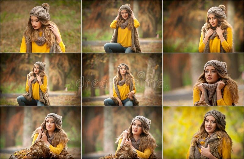 Glückliche Porträtmode einer schönen jungen kaukasischen Frau mit einer roten Kappe und ein Schal und ein gelber Pullover im Herb lizenzfreie stockfotos