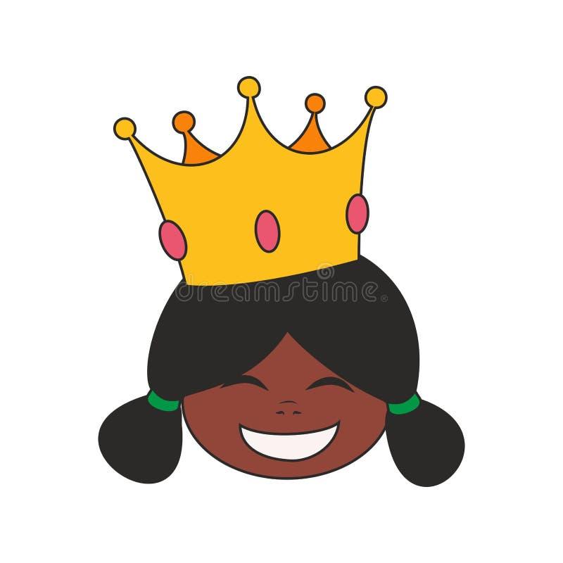 Glückliche Prinzessin in der Kronenvektorillustration auf weißem Hintergrund lizenzfreie abbildung