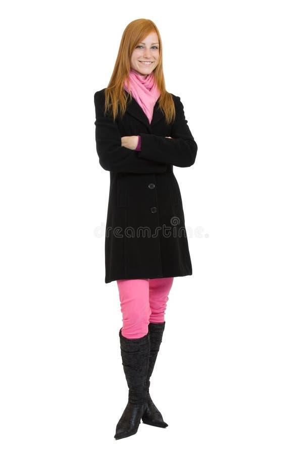 Glückliche Redheadfrau stockfoto