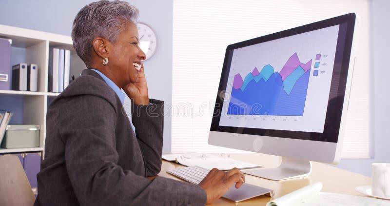 Glückliche reife afrikanische Geschäftsfrau, die am Telefon spricht und im Büro arbeitet stockfotografie