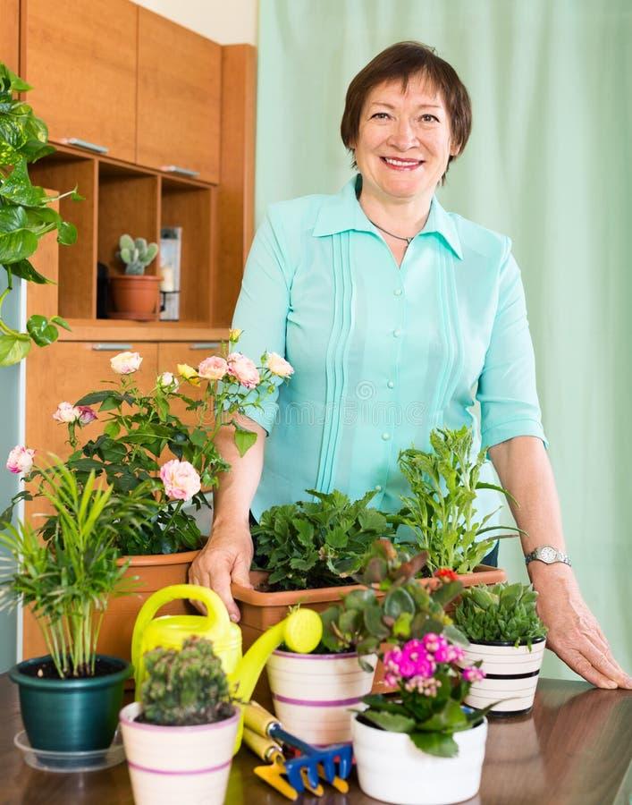 Glückliche reife Frau, die um ihren Blumen sich kümmert lizenzfreie stockfotos