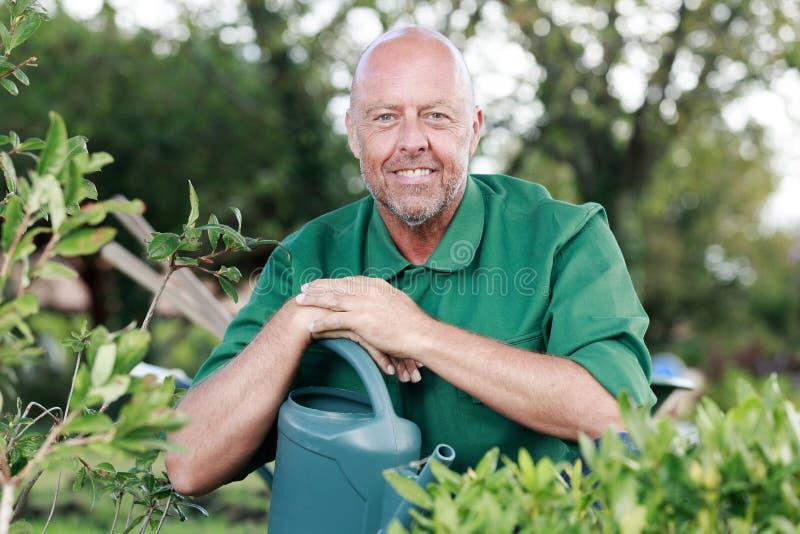 Glückliche reife Manngartenarbeit stockbild