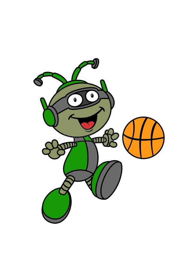 Glückliche Roboter-Zeichentrickfilm-Figur, die Basketball spielt lizenzfreie stockfotografie