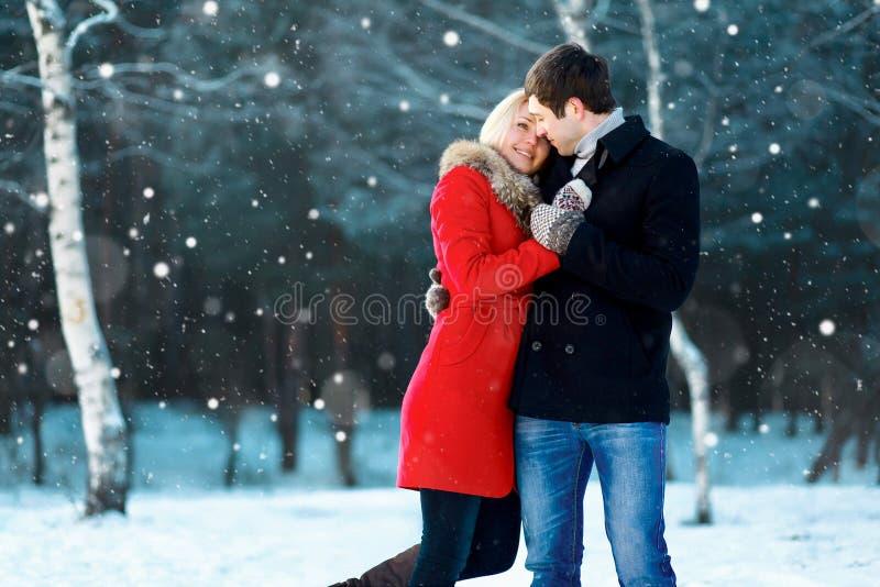 Glückliche romantische junge Paare, die in Winterpark auf den Fliegenschneeflocken schneebedeckt gehen lizenzfreie stockfotos