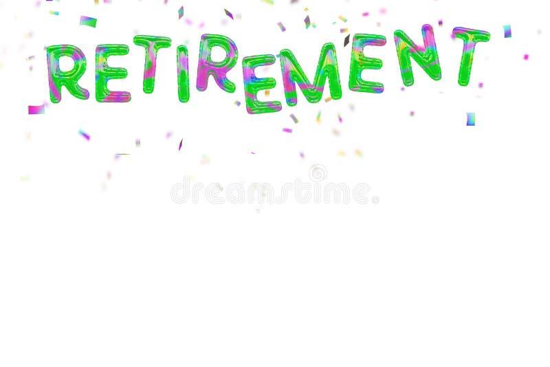 Glückliche Ruhestandsballone und -Konfettis auf Weiß stock abbildung