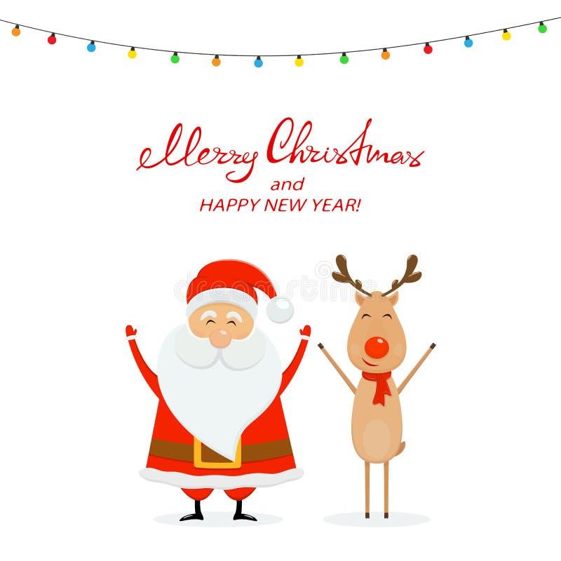 Glückliche Sankt mit Ren und Weihnachtslichtern auf einem weißen backgr lizenzfreie abbildung