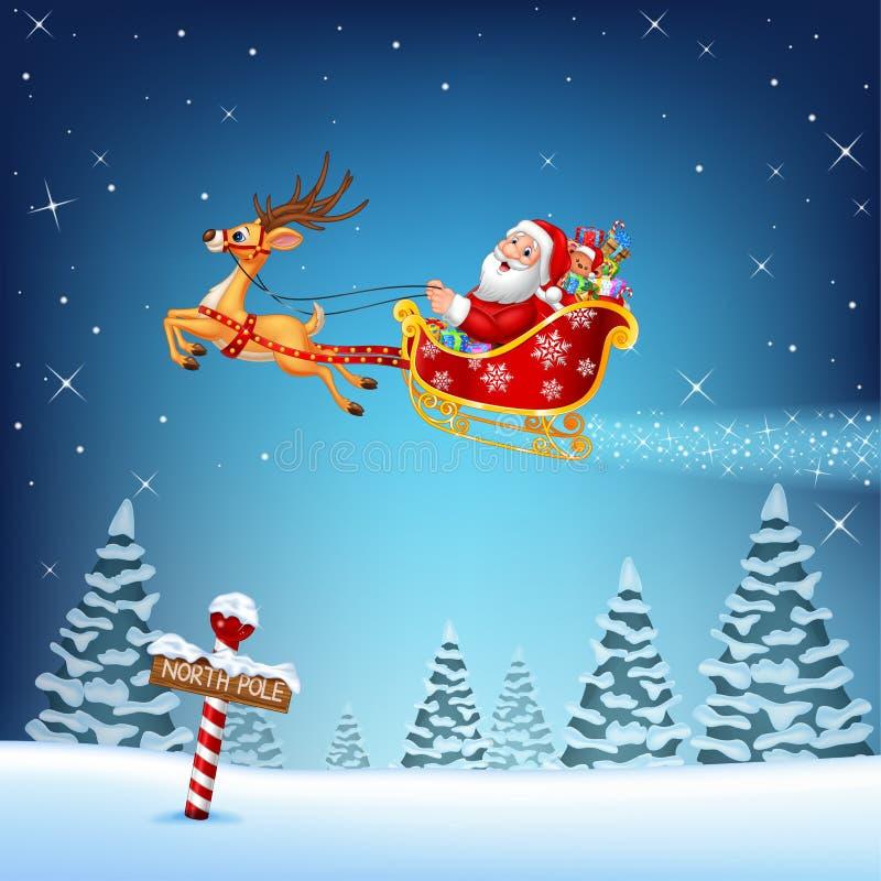 Glückliche Sankt in seinem Weihnachtsschlitten, der durch Ren gezogen wird vektor abbildung
