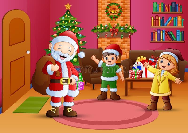 Glückliche Sankt und zwei Kinder im Wohnzimmer mit Weihnachtsbaum stock abbildung