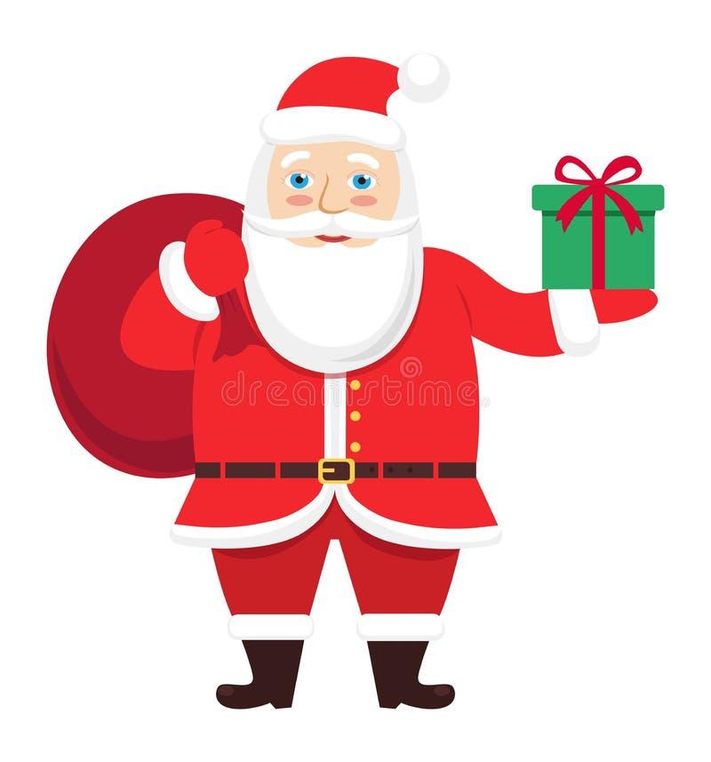 Glückliche Santa Claus mit der Geschenktasche und in der Hand Vektor Illustration lokalisiert auf Weiß stock abbildung