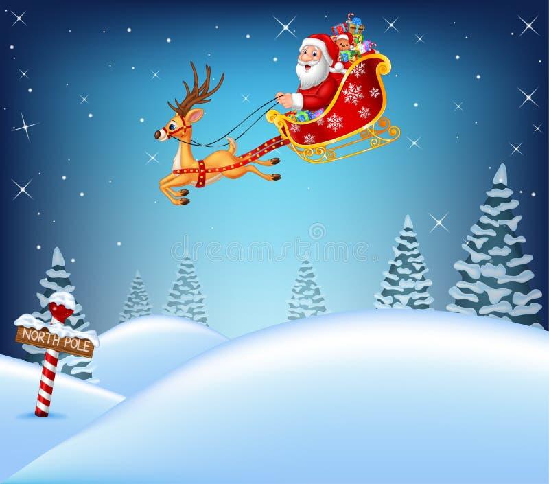 Glückliche Santa Claus in seinem Schlitten zog durch Ren lizenzfreie abbildung