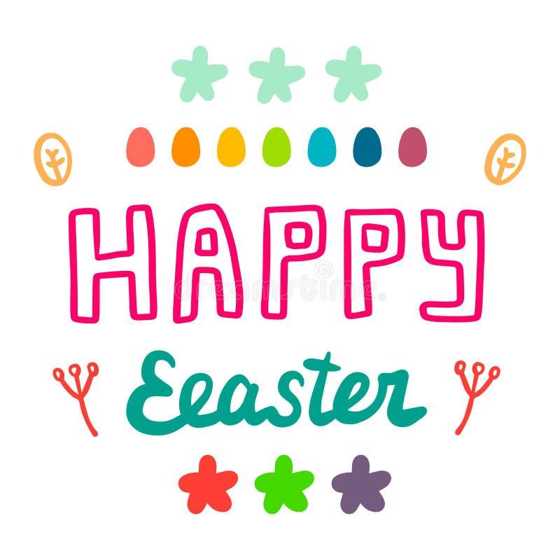 Glückliche schöne Handgezogene Karikatur-Artillustration Ostern mit Eiern und Blumen stock abbildung