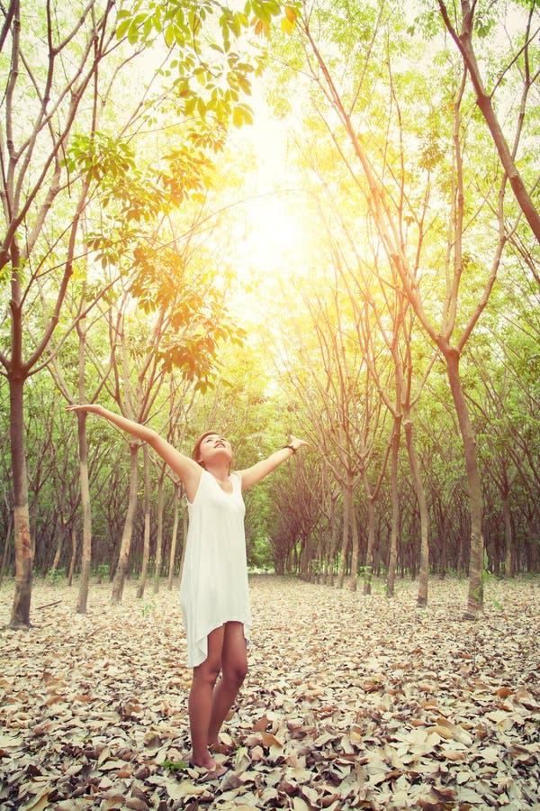 Glückliche schöne junge Frau, die ihre Hände im Wald-enjo anhebt lizenzfreie stockbilder