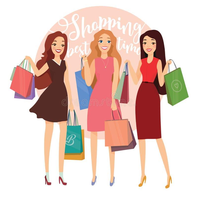 Glückliche Schönheiten mit dem Einkaufen Drei ladys mit den Einkaufstaschen, die auf Straße gehen Großer Verkauf stock abbildung
