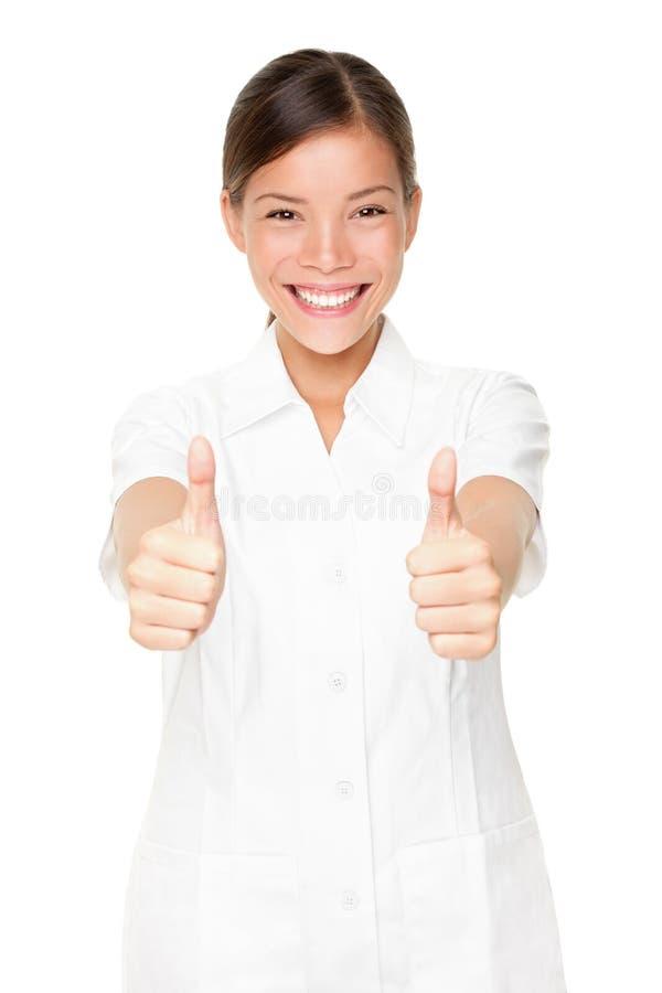 Glückliche Schönheitsbadekurort-Therapeutfrau erfolgreich stockfotos