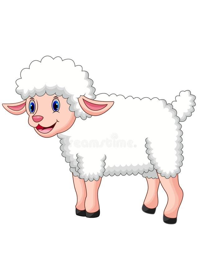 Glückliche Schafaufstellung der Karikatur lokalisiert auf weißem Hintergrund stock abbildung