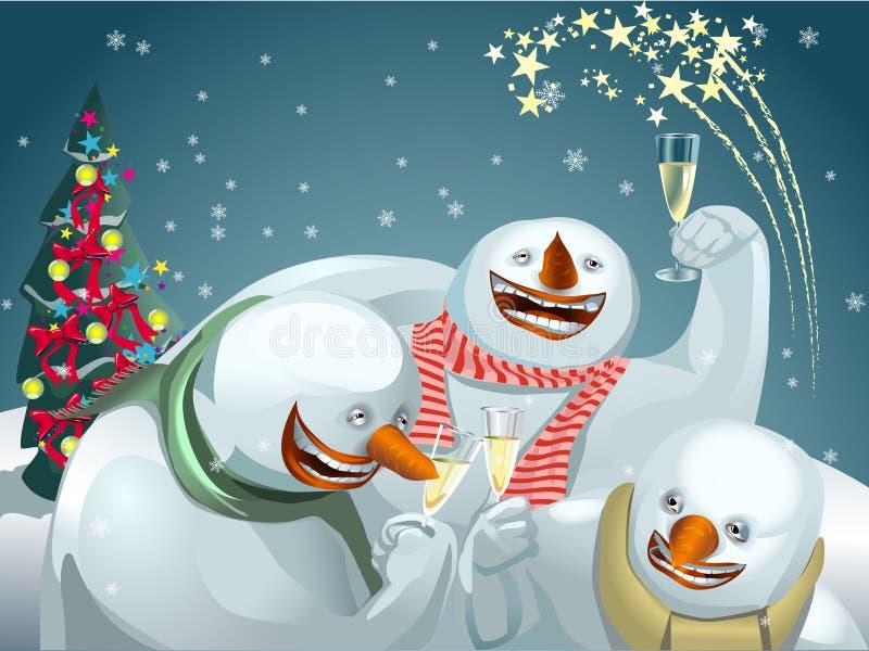 Glückliche Schneemänner stock abbildung