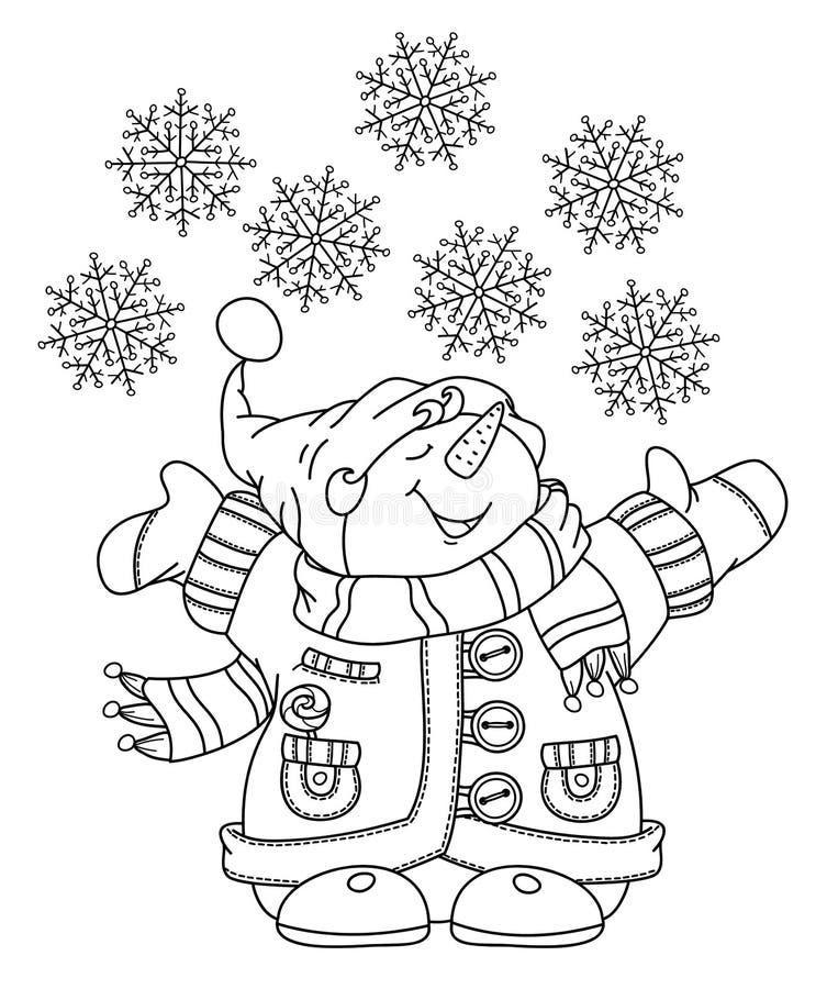 Glückliche Schneemannkarikatur des Vektors vektor abbildung