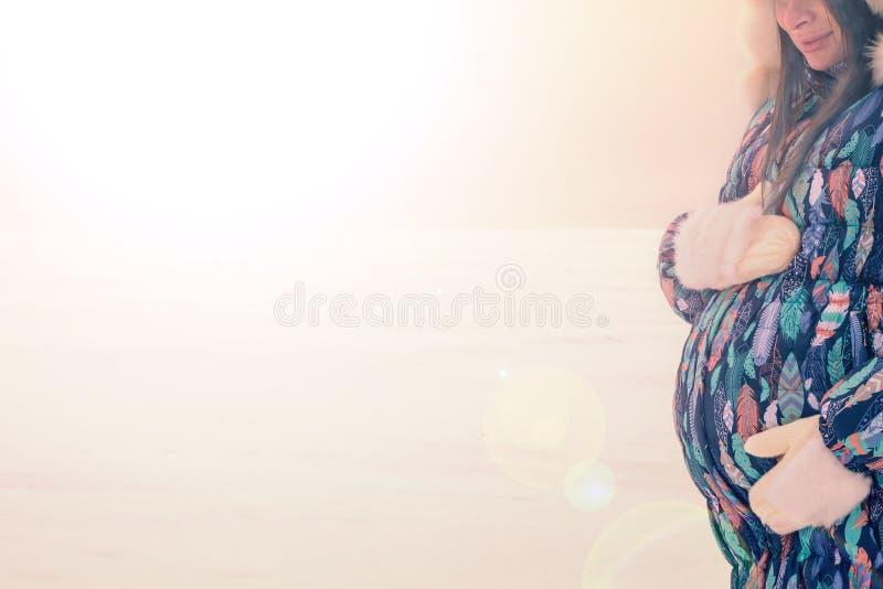 Glückliche schwangere Frau in der warmen Kleidung in einem verschneiten Winter Kopie-Raum stock abbildung