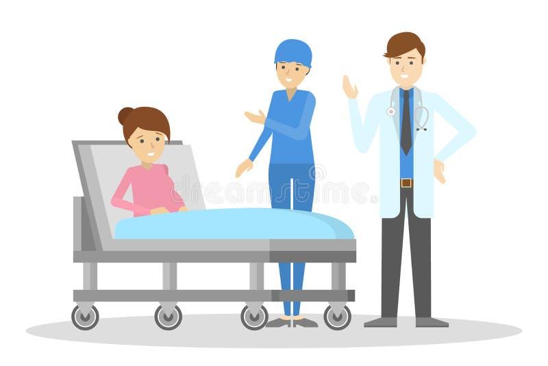 Glückliche schwangere Frau, die im Krankenhaus-Bett liegt stock abbildung
